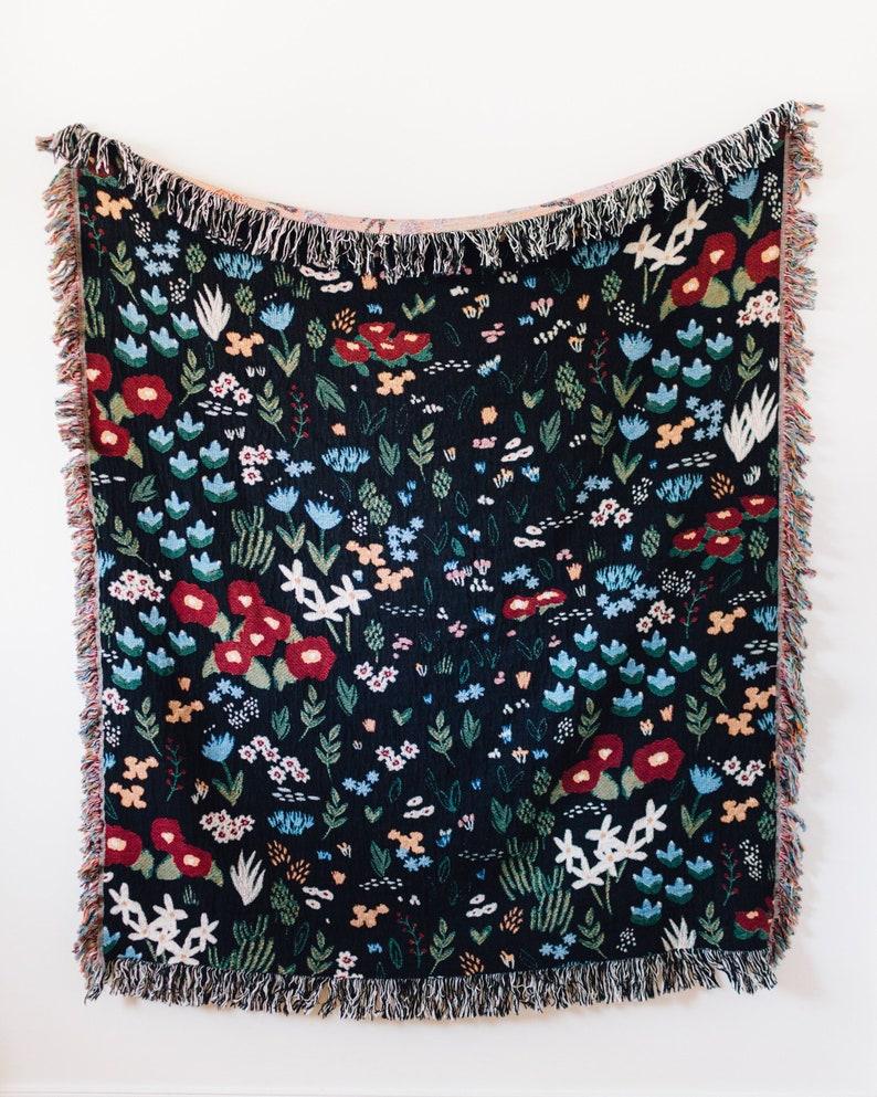 b44336d3b Black Floral Throw Blanket: Flower Woven Cotton Throw, Dark Flower Decor,  Ditsy Print