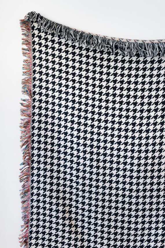 Houndstooth Woven Throw Blanket Black White Decor Etsy Impressive Black And White Houndstooth Throw Blanket