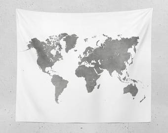 World Map Tapestry - Black and White Map of the World for Neutral Decor, Dorm Rooms, and more