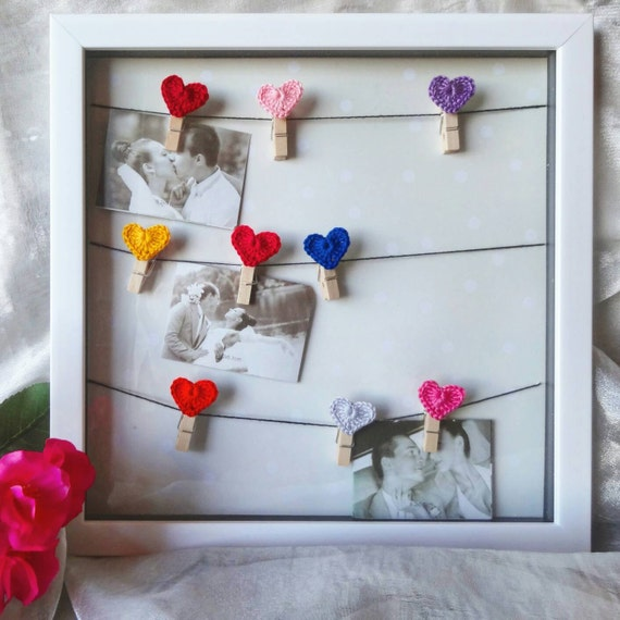 Romantic Picture Board Heart Crochet Pictures Frame Etsy