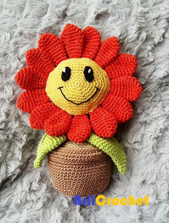Crochet 3D Potted Sunflower Amigurumi Free Crochet Patterns | 752x570
