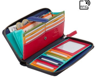 VISCONTI Womans Colourful Leather Wallet / Zip Around Purse - Ladies Leather Purse / Ladies Wallet With Zipper - RFID Leather Purse Wallet