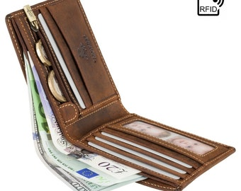 RFID Leather Wallet - VISCONTI Bifold Wallet - Slim Leather Wallets For Men / Slimfold Wallets / Kartenetui Oil TAN - Shield - 707