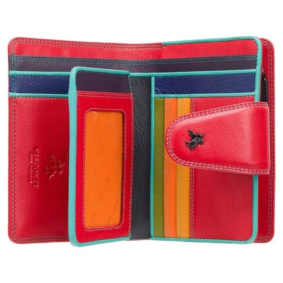 Veelkleurige tas tas met knop kleurrijke tas voor dames RFID blokkeren dames portemonnee portemonnee echt leer SP31