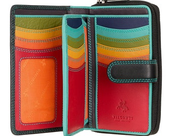 Leather Purse For Woman - Womans Leather Wallet - RFID Ladies Wallet - Genuine Leather Colorful Purse - Button Close Purse Wallet Cash/Cards