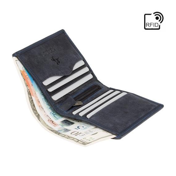 VISCONTI RFID - olio blu cacciatori collezione - portatessere - 705 - Bi-Fold - portafoglio in pelle - portafoglio piccolo - uomo portafoglio - titolare della carta
