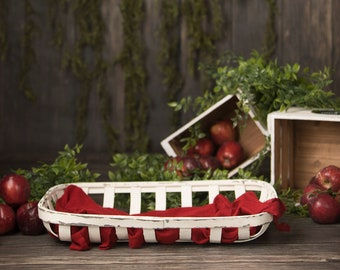 Set of 2 Country Apple Basket With Crates and Tobacco Basket Red and White/Cream with Greenery Digital Backdrop/Digital Background