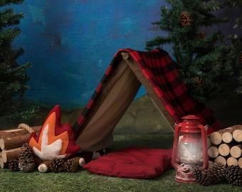 Camping, Tent, Campfire, Wood, Lumberjack, Outdoors Digital Background/Digital Backdrop