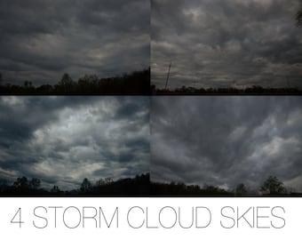 4 Storm Cloud Sky Overlays