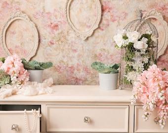 Dresser Floral with Flowers, Frames, Birdcages, vintage pink/green/cream digital background/digital backdrop