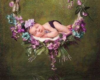 Hanging Basket with Reflection/ Greenery, Purple Flowers, Water/Springtime Digital Background/Digital Backdrop
