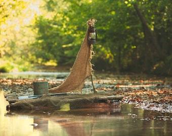 Outdoor Creek with Wood Boat Digital Backdrop / Digital Background
