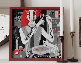 GICLEE ART PRINT: The witch, wall decor, fine art print, tarot print, gothic print, feminism print, witchy print