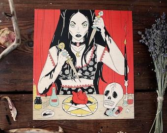 "ART PRINT: ""The Love Witch"" tarot print, gothic print, feminism print, witchy print, gothic wall decor, witchcraft, valentine gift"