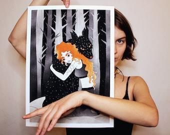 GICLÉE A3 ART PRINT: 'A Friend' wall decor, fine art print, forest art, calm print, bohemian decor, wolf print, girl with wolf, fantasy art