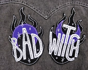 EMBROIDERED PATCHES SET (sew on), bad witch, handmade, feminism, female gift, stitching gift, modern embroidery