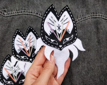 EMBROIDERED PATCH (sew on), Magic Fox, handmade, female gift, stitching gift, modern embroidery, outfit accessory