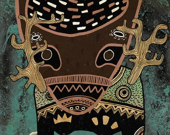 ART PRINT: Quirky Spirits, art poster print, mythology forest nature pagan baltic norse wild wiccan, folk art, bohemian decor, primitive art