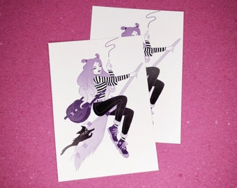 WITCH POSTCARD, female illustration, female gift, sabrina spellman postcard, fashion postcard, witch mini print, cat postcard