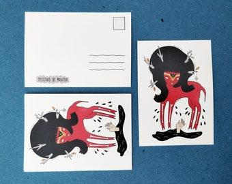 SPIRIT POSTCARD, folk art, quirky postcard, fantasy postcard, monster print, spiritual illustration, northern spirit, boho art, wildlife art