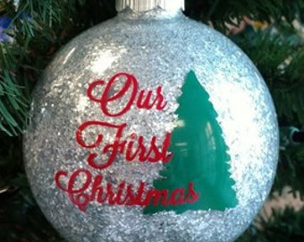 """4"""" Personalized Our First Christmas Ornament, First Christmas Ornament, Couples Ornament, Glass Ornament, Personalized Ornament"""