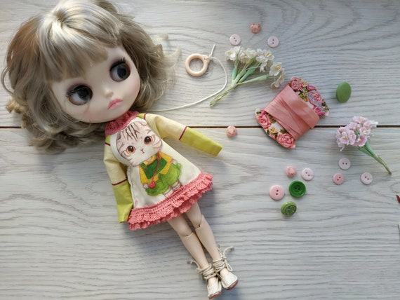 Elfdoll Hana,Skipper Blythe mini dress cat  for Neo Blythe licca Ruruko