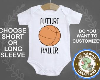 5ea0524c2 Future Baller Onesie, Cute Baby Onesie, Funny Baby Onesie, Sports Onesie,  Basketball Onesie, Baller Onesie, Going Home Outfit, Reveal Onesie