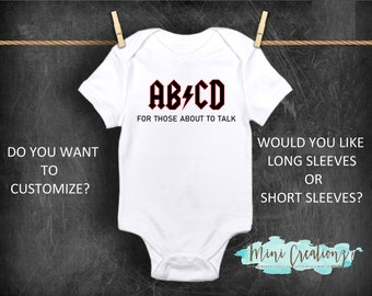 Baby bodysuit ACDC AC DC personalized customized One Piece jersey shirt kids