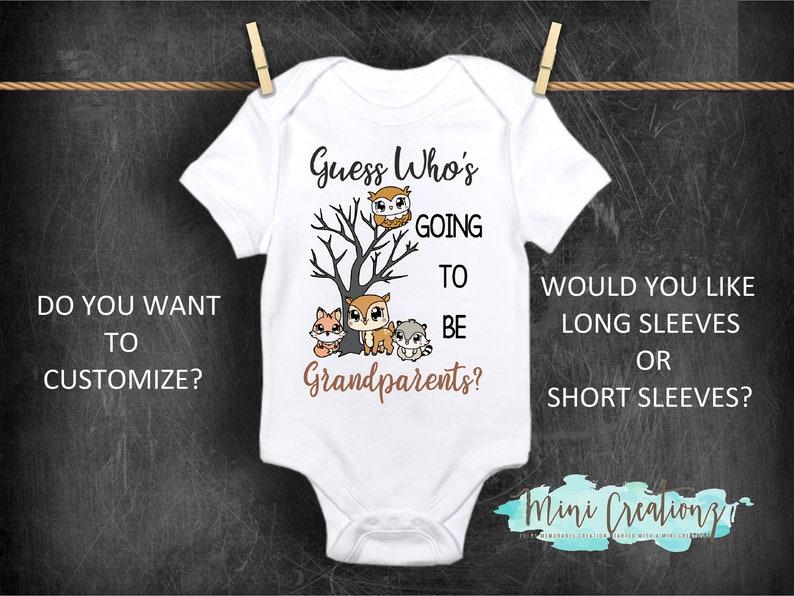 Grandparent Onesie Cute Baby Onesie Baby Reveal Onesie Owl Onesie Pregnancy Onesie Guess Who/'s Going To Be Grandparents? Onesie\u00ae