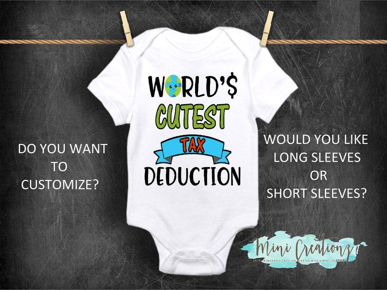 c0cc79d31bb73 World's Cutest Tax Deduction Onesie®, Cute Baby Onesie, Funny Baby Onesie,  Baby Reveal, Pregnancy Reveal Onesie, Custom Baby Shower Gift