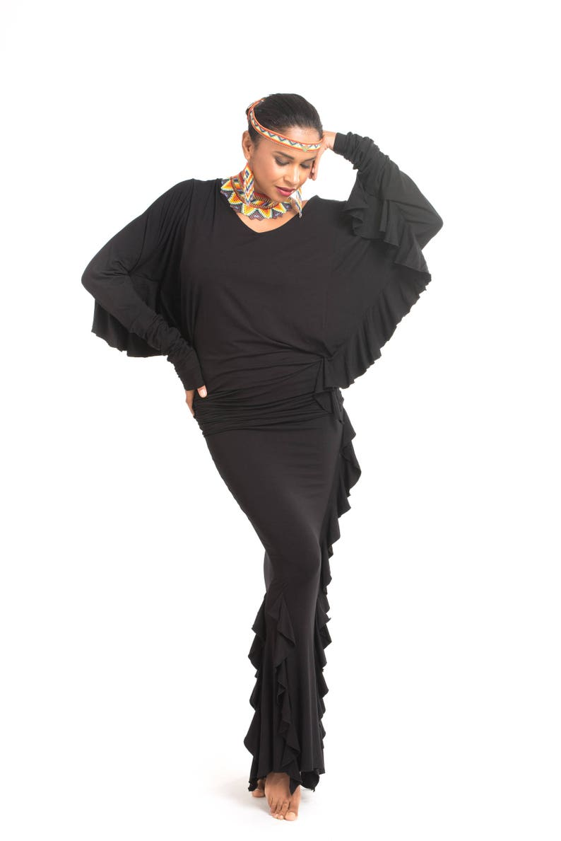 Bamboo Spanish Skirt Black \\ Latin Skirt \\ Tango Skirt \\ Hand Made \\ Ruffle Skirt \\ Frill \\ Maxi Skirt \\ Tantrica \\ Tantra \\ Tantric