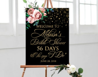 Bridal shower welcome sign printable, wedding countdown sign, gold black with pink roses personalized bridal shower welcome sign DIGITAL