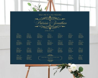Seating chart wedding printable navy and gold, gold and navy wedding or birthday personalized seating plan, DIGITAL table assignment