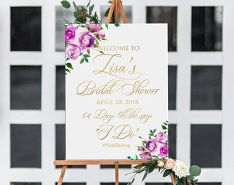 Bridal shower welcome sign printable, wedding countdown sign, gold with purple roses personalized bridal shower welcome sign DIGITAL