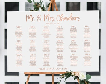 Seating chart wedding printable rose gold text, rose gold wedding or birthday personalized seating plan, DIGITAL table assignment