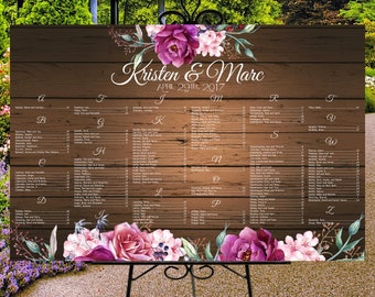 Wedding seating chart printable, digital custom wedding sign, rustic wood and roses, seating plan, table assignment, guests list