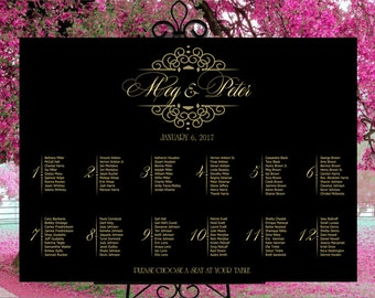 Wedding seating chart printable, gold and black wedding seating plan seating assignments, table assignment guests list digital download