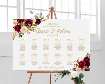 Wedding seating chart gold with flowers, printable personalized floral wedding seating plan, DIGITAL table plan