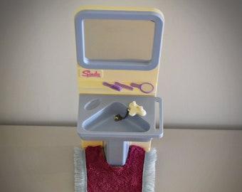 Vintage Sindy Pedigree Washbasin, Matt & Original Accessories / Bathroom Furniture by Sindy / # 44543 / Light Blue Version / Plastic