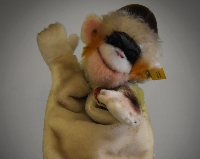 Vintage original Steiff Handpuppet tamarin Mungo/+ knob and label/Mohair/NR 6520 18/Made in Germany