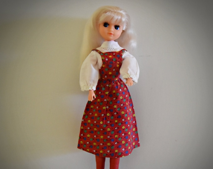 Very nice vintage Fleur Otto Simon doll (Dutch Sindy) + Flower dress #385-1000 + matching white blouse and red boots / Almelo - Holland