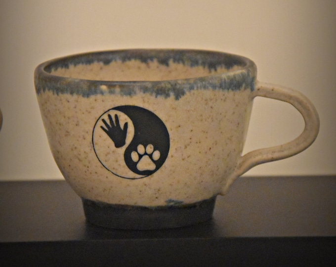 "Unique Handmade ceramic Espresso bags/Coffee bags/cup/stoneware/decal Yin Yang ""Hand & Paw""/signed."
