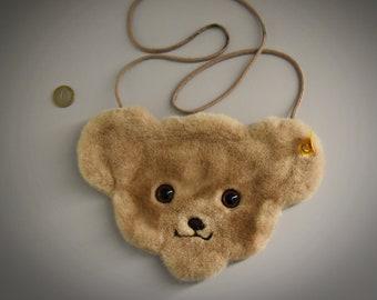 Vintage original Steiff Teddy Purse / # 600104 / Steiff purse / button in earpiece + label / West Germany