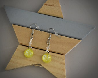 Dichroic Earrings/earrings/glass jewellery/lemon-yellow