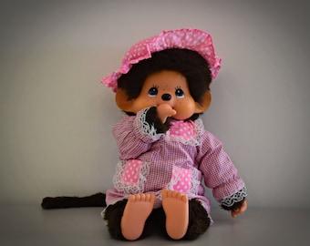 Beautiful large vintage Monchhichi / ± 43 cm / Girl / Sekiguchi Japan 1974 + outfit pink dress with matching hat
