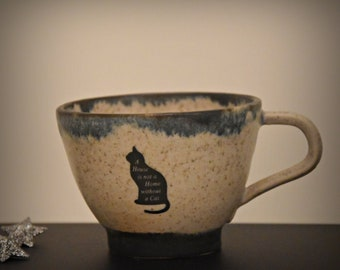 "Unique Handmade ceramic Espresso bags/Coffee bags/cup/stoneware/decal ""A House is not a Home without a Cat/signed."
