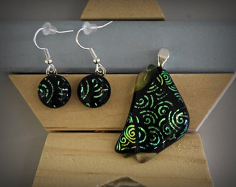 Dichroic glass pendant + matching earrings/Glass jewellery/black-green sparkle