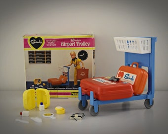 Vintage Sindy Pedigree Airport Trolley and Luggage / # 44385 / in original box / Collectors item / 1980