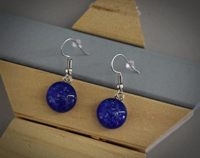 Dichroic Earrings/earrings/glass jewellery/Blue sparkle