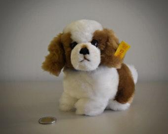 Vintage original Steiff St. Bernard Snuffi / # 077340 / cute doggy / button in earpiece + label / West Germany